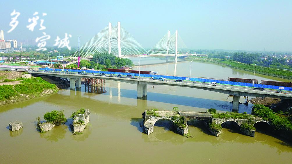 东溪桥(新桥)位于市区阳德路跨水阳江处,在建,计划2020年建成通车,长546米,宽50米。(记者 戴巍 文/图)